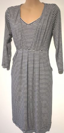 JOJO MAMAN BEBE NAVY WHITE STRIPED POCKET TUNIC NURSING DRESS SIZE S 10